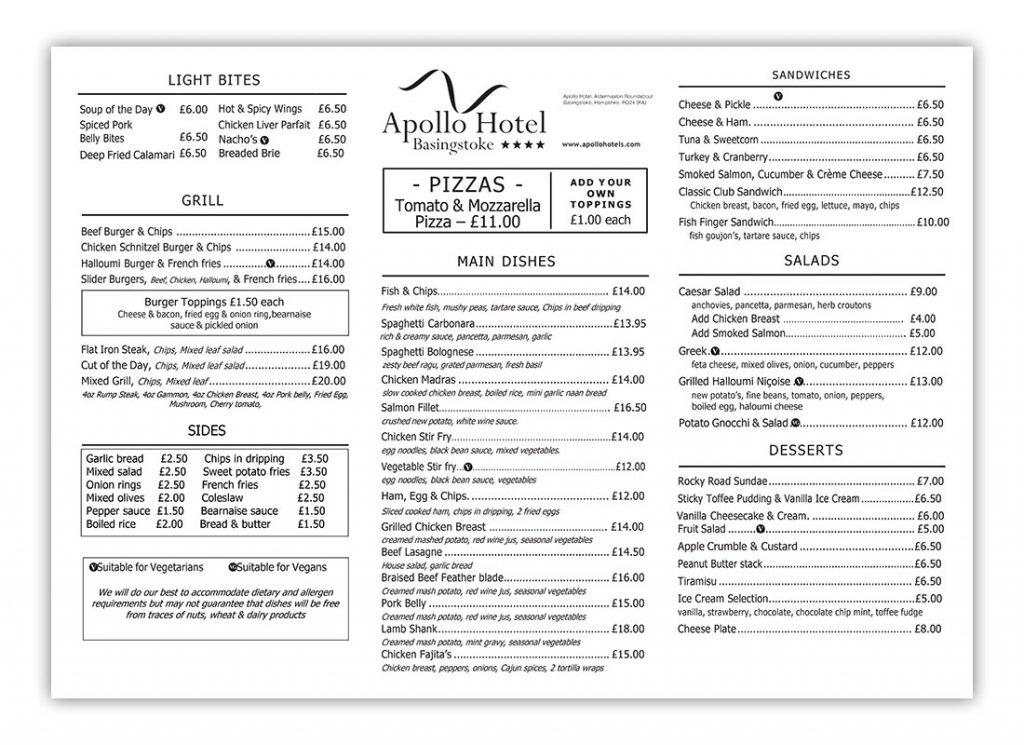 Apollo 2021 menu