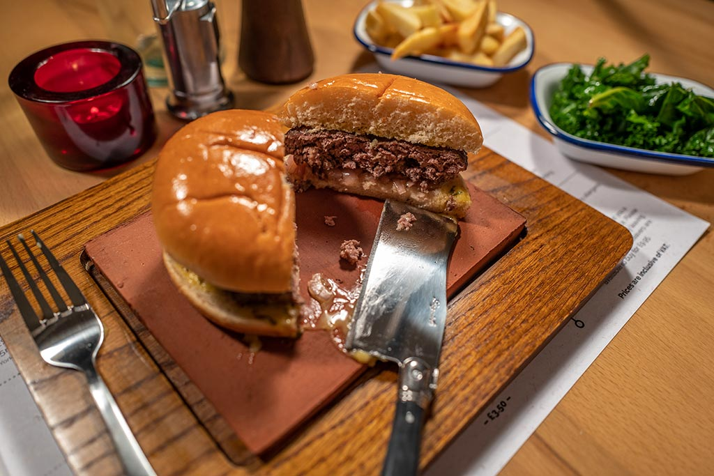 Burger at Hideaway steakhouse Basingstoke
