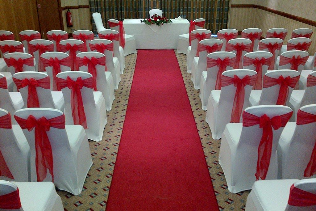 Red Sash Wedding Chairs