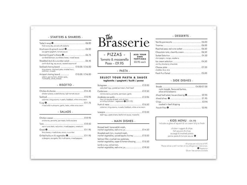 Apollo Brasserie Menu